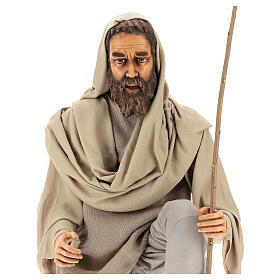 Shepherd 170 cm Life size kneeling in resin and cloth s2