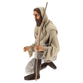 Shepherd 170 cm Life size kneeling in resin and cloth s3