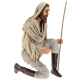 Shepherd 170 cm Life size kneeling in resin and cloth s4