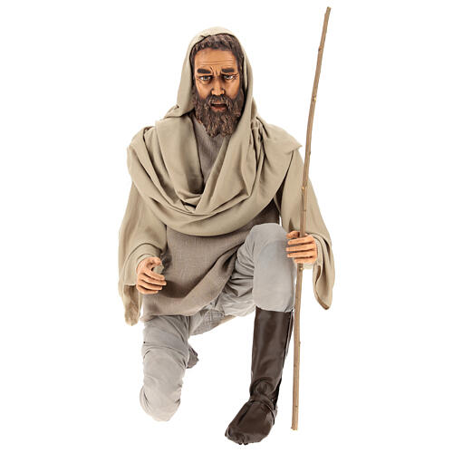 Shepherd 170 cm Life size kneeling in resin and cloth 1
