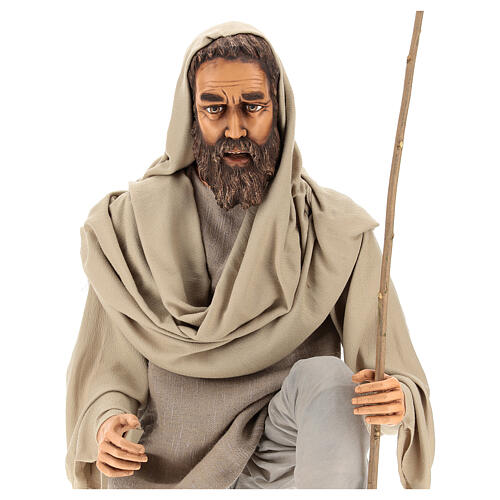 Shepherd 170 cm Life size kneeling in resin and cloth 2