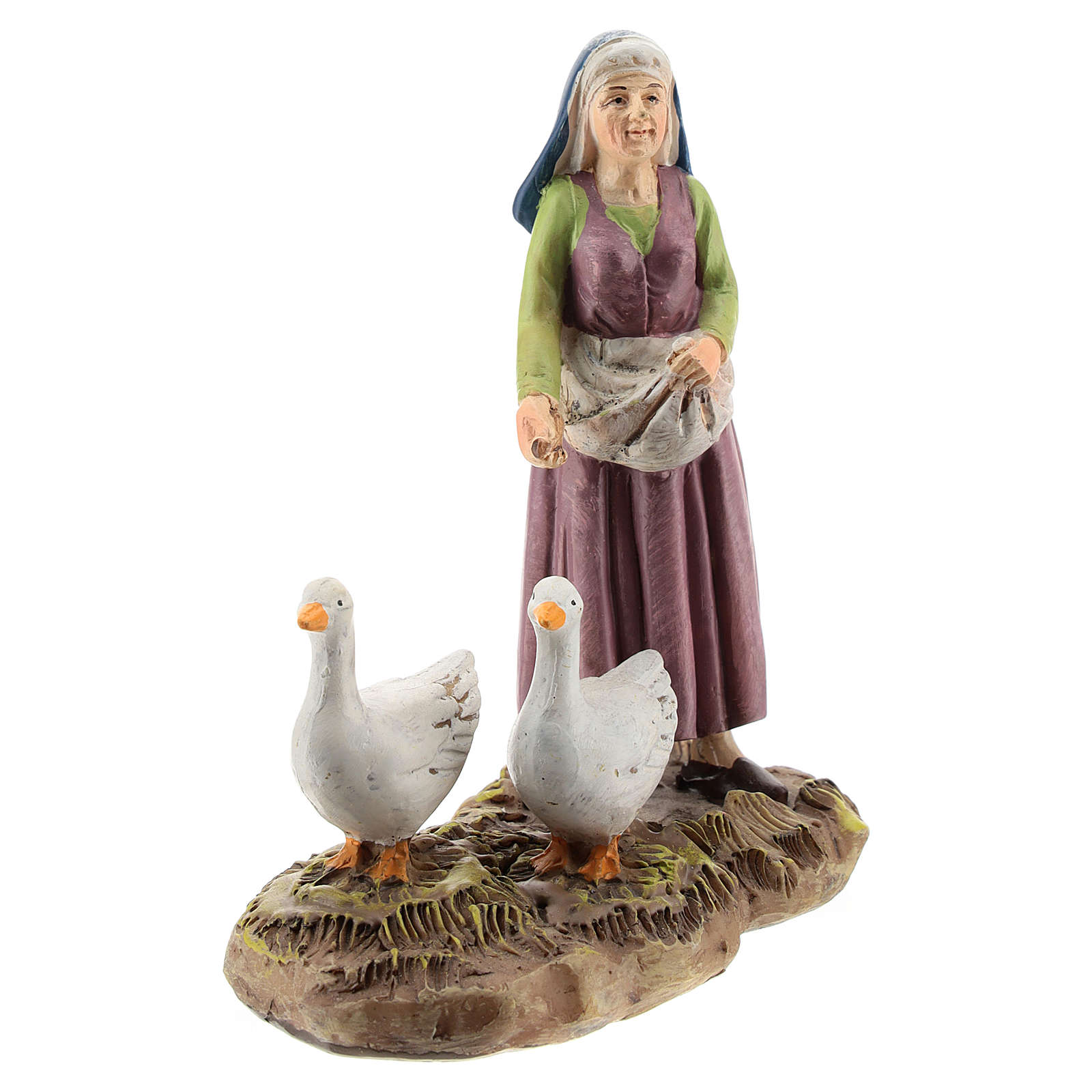 Nativity scene character, woman with geese Martino Landi collection 12 cm 3
