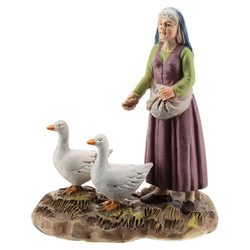 Nativity scene character, woman with geese Martino Landi collection 12 cm 1