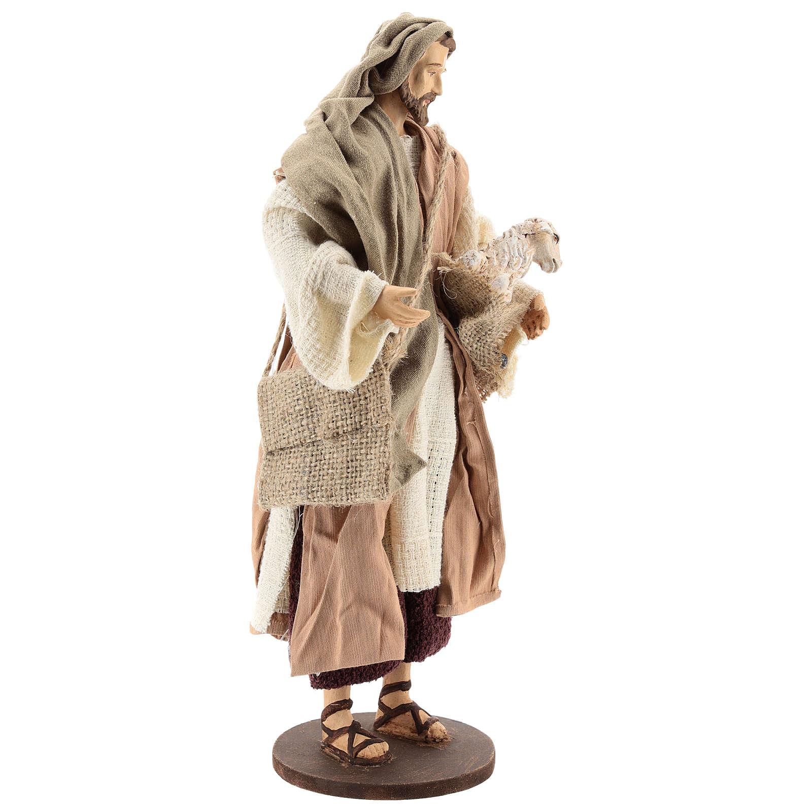 Pastore 30 cm in piedi con pecorella Shabby Chic 3