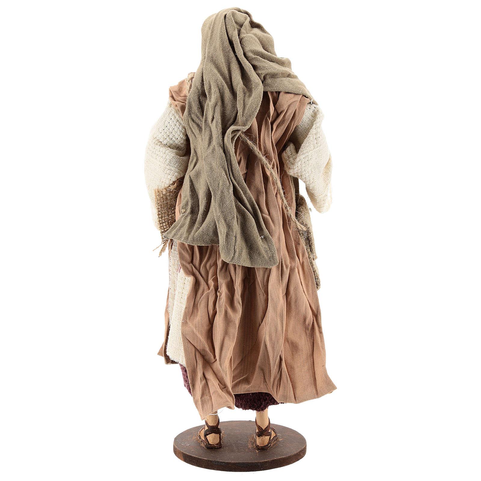 Pastor de pé com ovelha Shabby Chic para presépio com figuras  de 30 cm de altura média 3