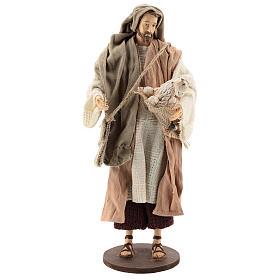 Pastor de pé com ovelha Shabby Chic para presépio com figuras  de 30 cm de altura média s1
