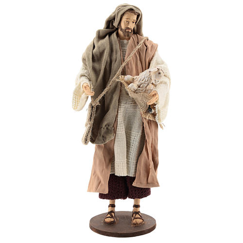 Pastor de pé com ovelha Shabby Chic para presépio com figuras  de 30 cm de altura média 1