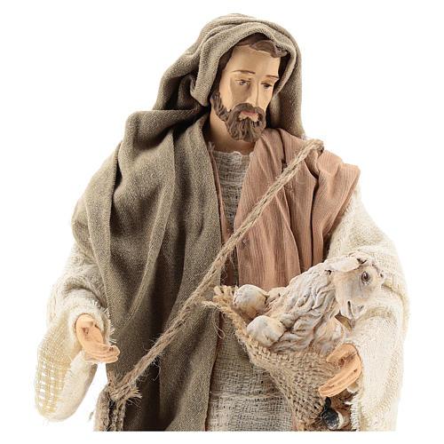Pastor de pé com ovelha Shabby Chic para presépio com figuras  de 30 cm de altura média 2