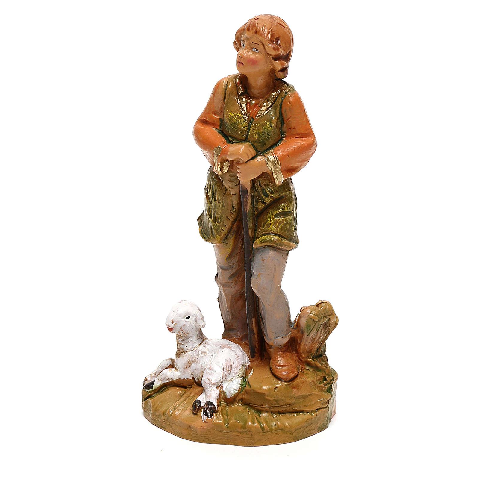 Pastor con oveja sentada Fontanini para belén de 10 cm 4