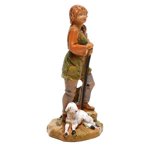 Pastor con oveja sentada Fontanini para belén de 10 cm 3