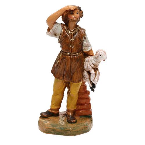 Joven con oveja en brazos Fontanini para belén de 10 cm 1