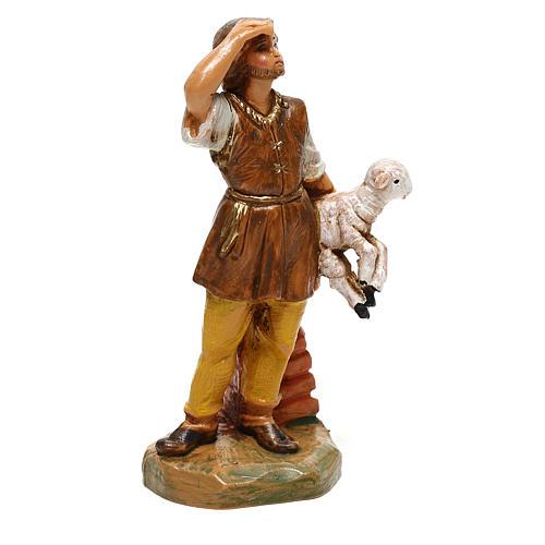 Joven con oveja en brazos Fontanini para belén de 10 cm 3