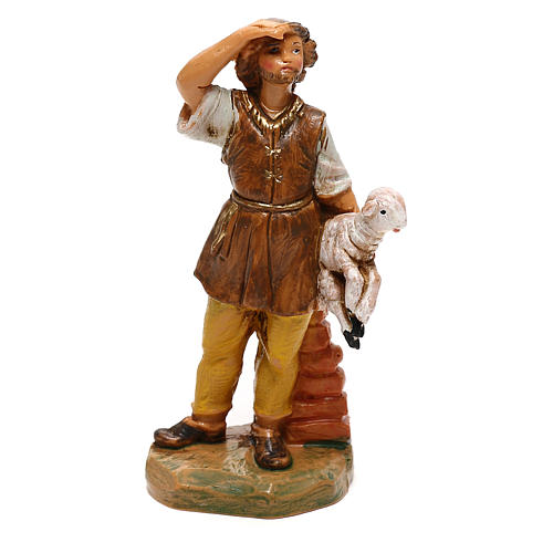 Jeune avec mouton à bras Fontanini pour crèche de 10 cm 1