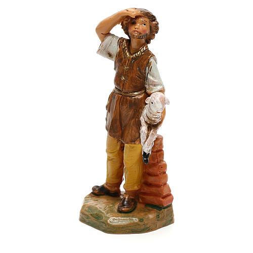 Jeune avec mouton à bras Fontanini pour crèche de 10 cm 2