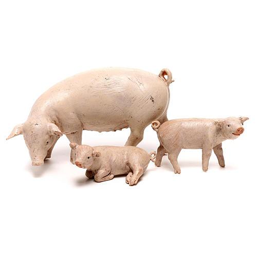 Famille de cochons Fontanini pour crèche de 20 cm 1