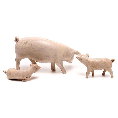 Famiglia maiali Fontanini per presepe di 20 cm 2