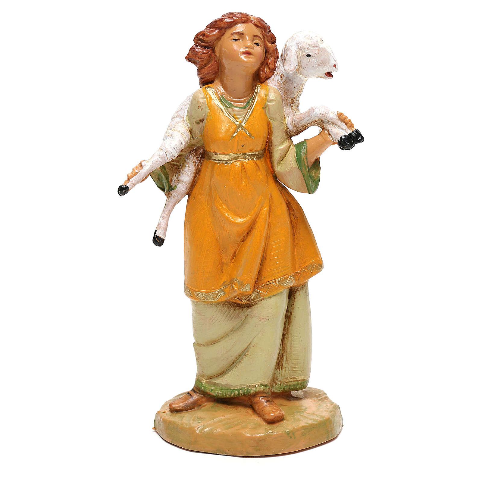 Fille avec mouton sur les épaules Fontanini pour crèche de 12 cm 4