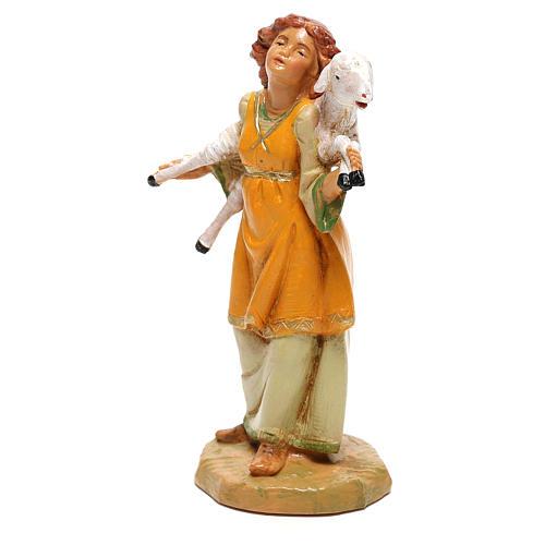Fille avec mouton sur les épaules Fontanini pour crèche de 12 cm 2
