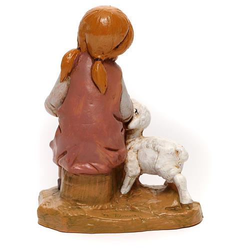 Niña con cordero Fontanini para belén de 30 cm 4
