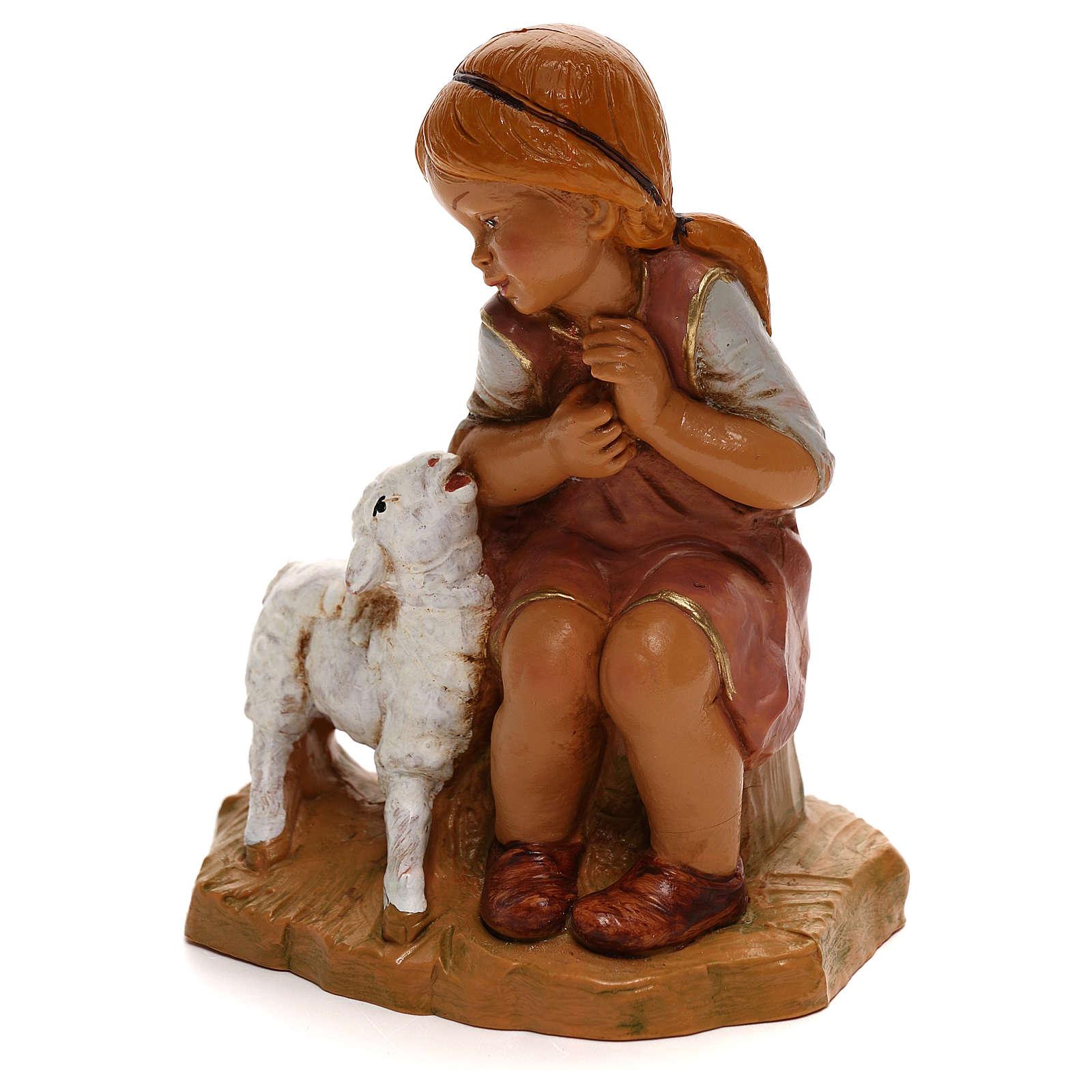 Petite fille avec agneau Fontanini pour crèche de 30 cm 4