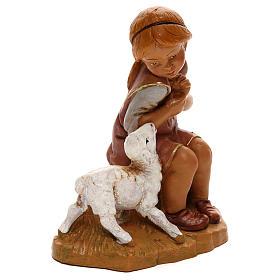 Petite fille avec agneau Fontanini pour crèche de 30 cm s3
