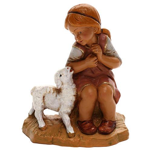 Petite fille avec agneau Fontanini pour crèche de 30 cm 1