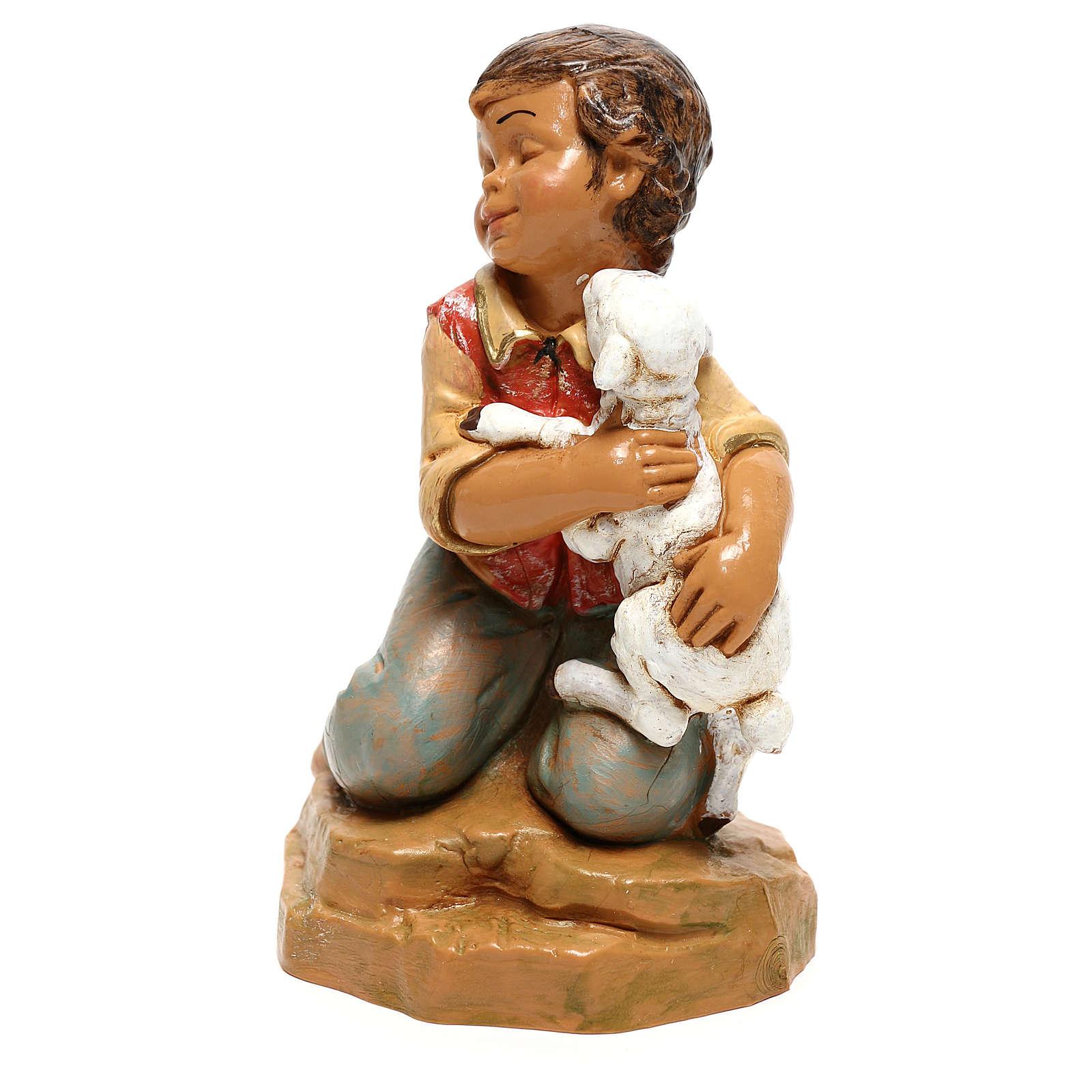 Enfant avec agneau Fontanini pour crèche de 30 cm 4