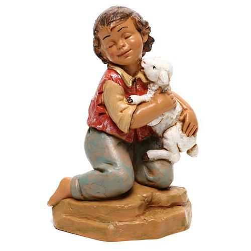 Enfant avec agneau Fontanini pour crèche de 30 cm 1