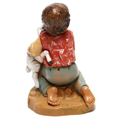 Menino com cordeiro para presépio Fontanini com figuras de 30 cm de altura média 4