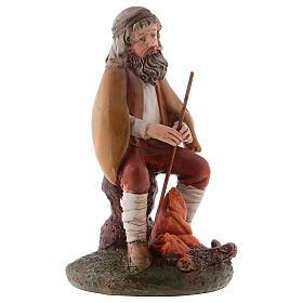 Shepherd with fire in resin for 12 cm Nativity scene, Landi s3