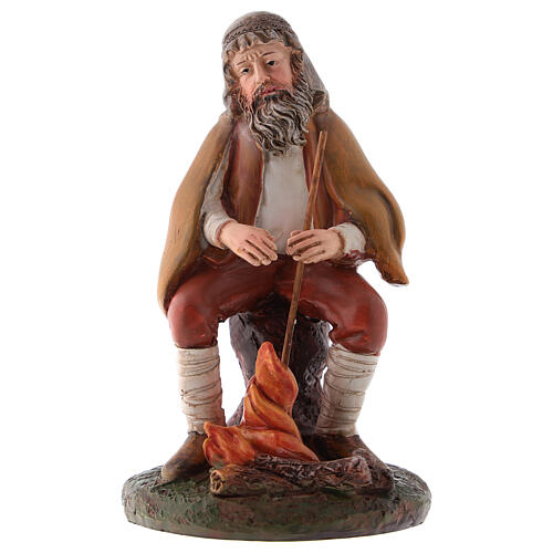 Shepherd with fire in resin for 12 cm Nativity scene, Landi 1