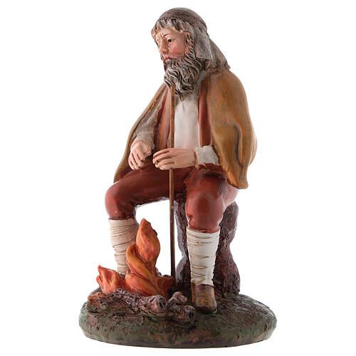 Shepherd with fire in resin for 12 cm Nativity scene, Landi 2