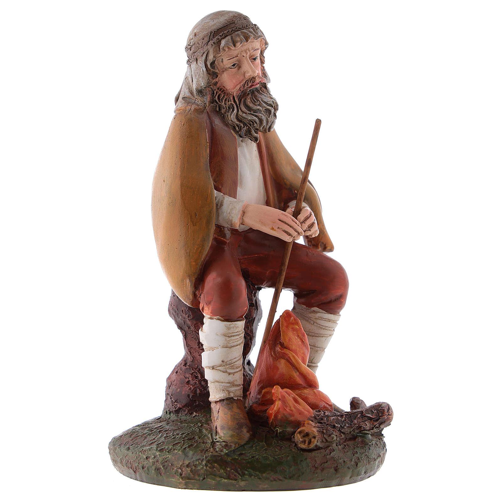 Pastor con fuego belén de 12 cm línea Landi resina 3