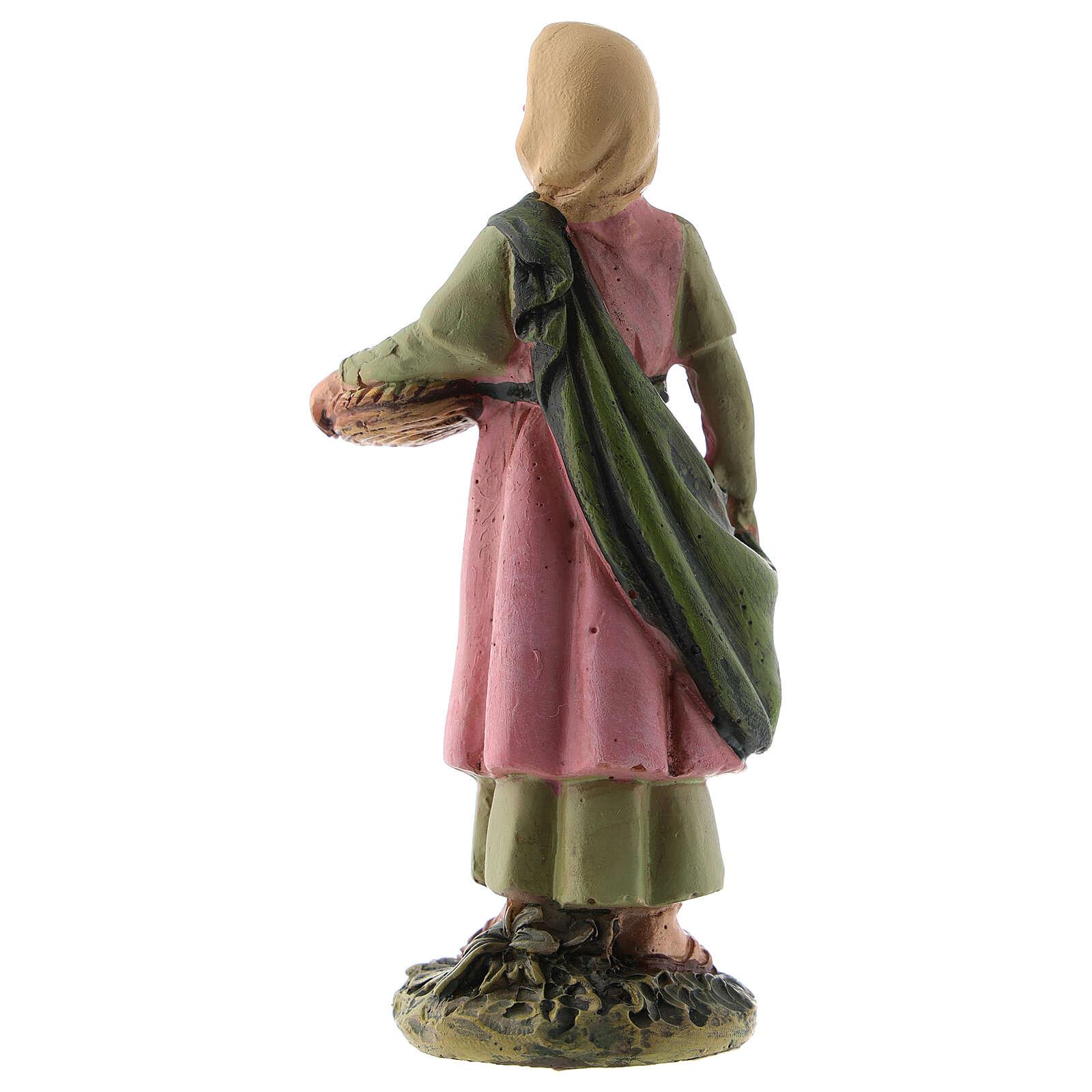Estatua belén 10 cm pastora cesta fruta resina línea M. Landi 3