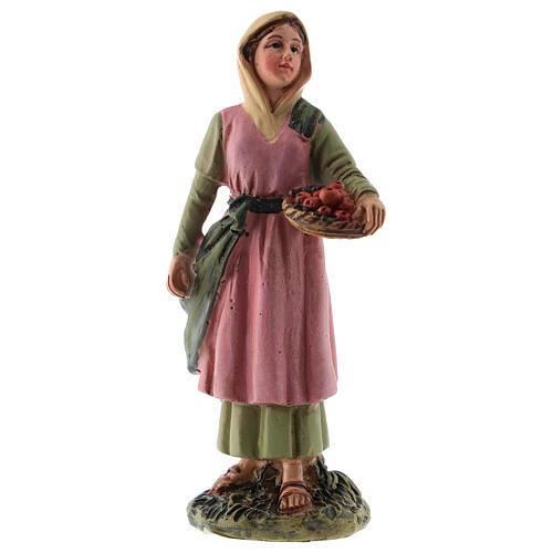 Estatua belén 10 cm pastora cesta fruta resina línea M. Landi 1