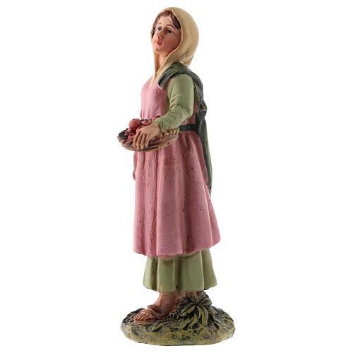 Estatua belén 10 cm pastora cesta fruta resina línea M. Landi 2