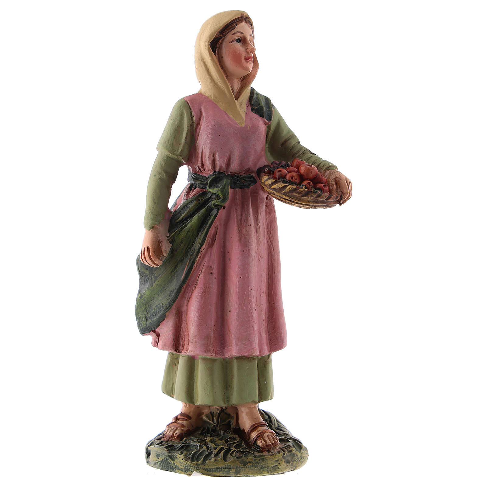 Statua presepe 10 cm pastorella cesto frutta resina linea M. Landi 3