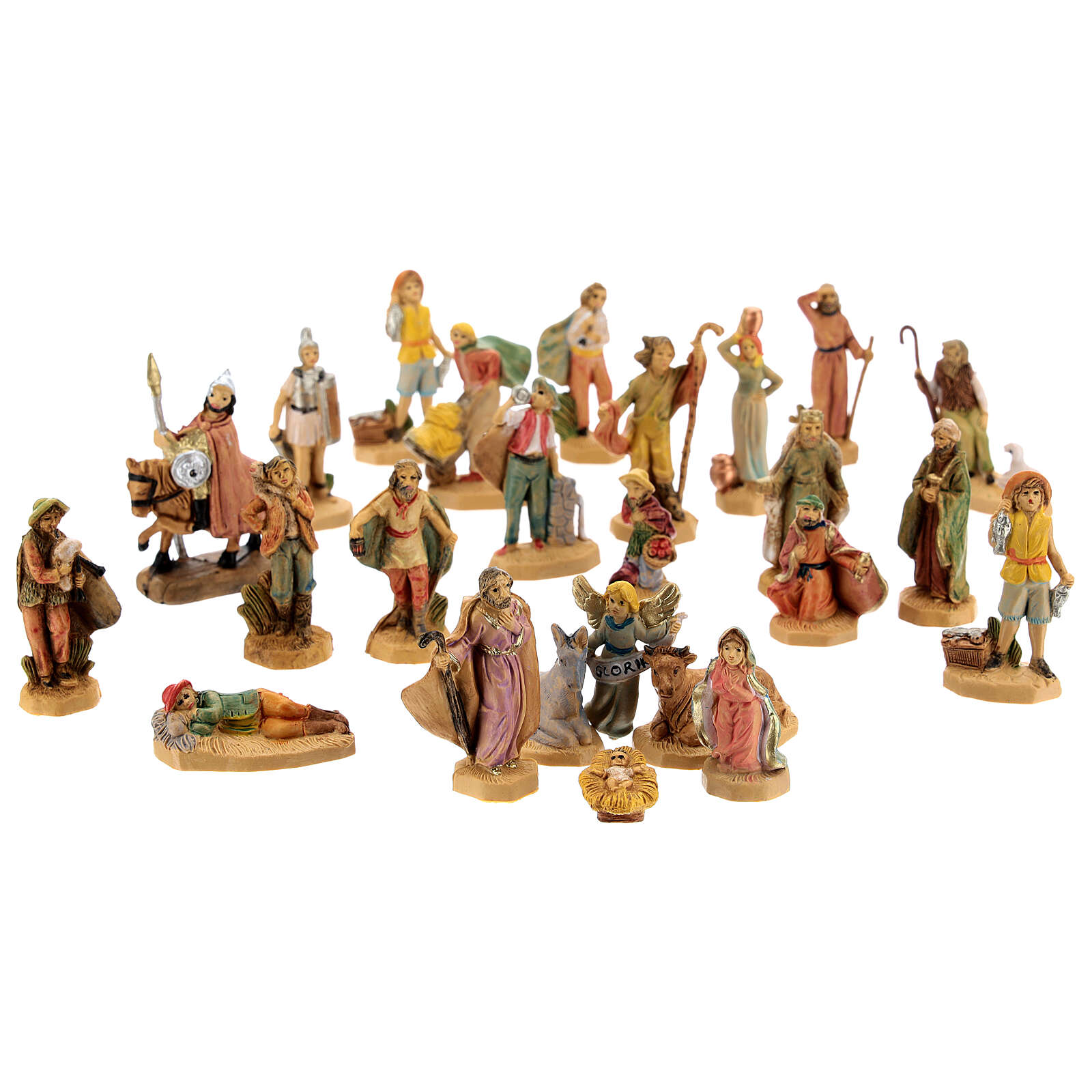 Wooden nativity scene characters 25 pcs 4 cm 3