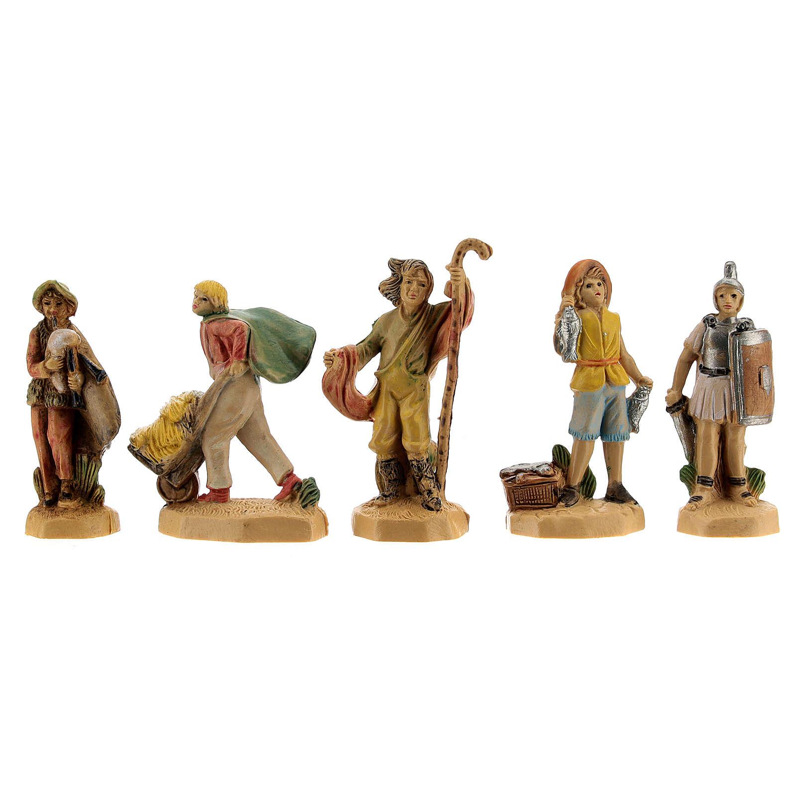 Nativity scene set characters wood effect 25 pcs, 4 cm 3