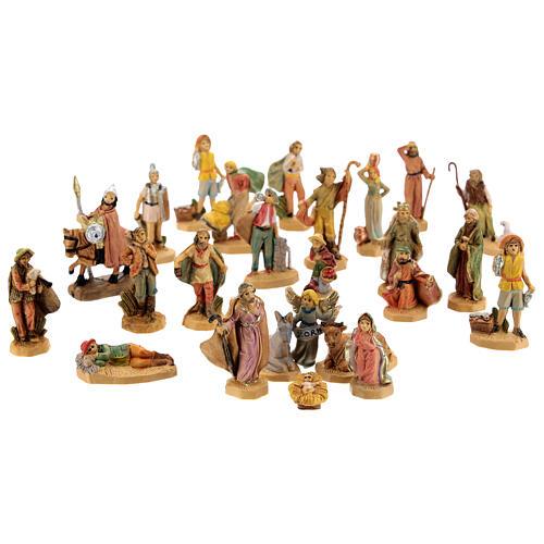 Nativity scene set characters wood effect 25 pcs, 4 cm 1