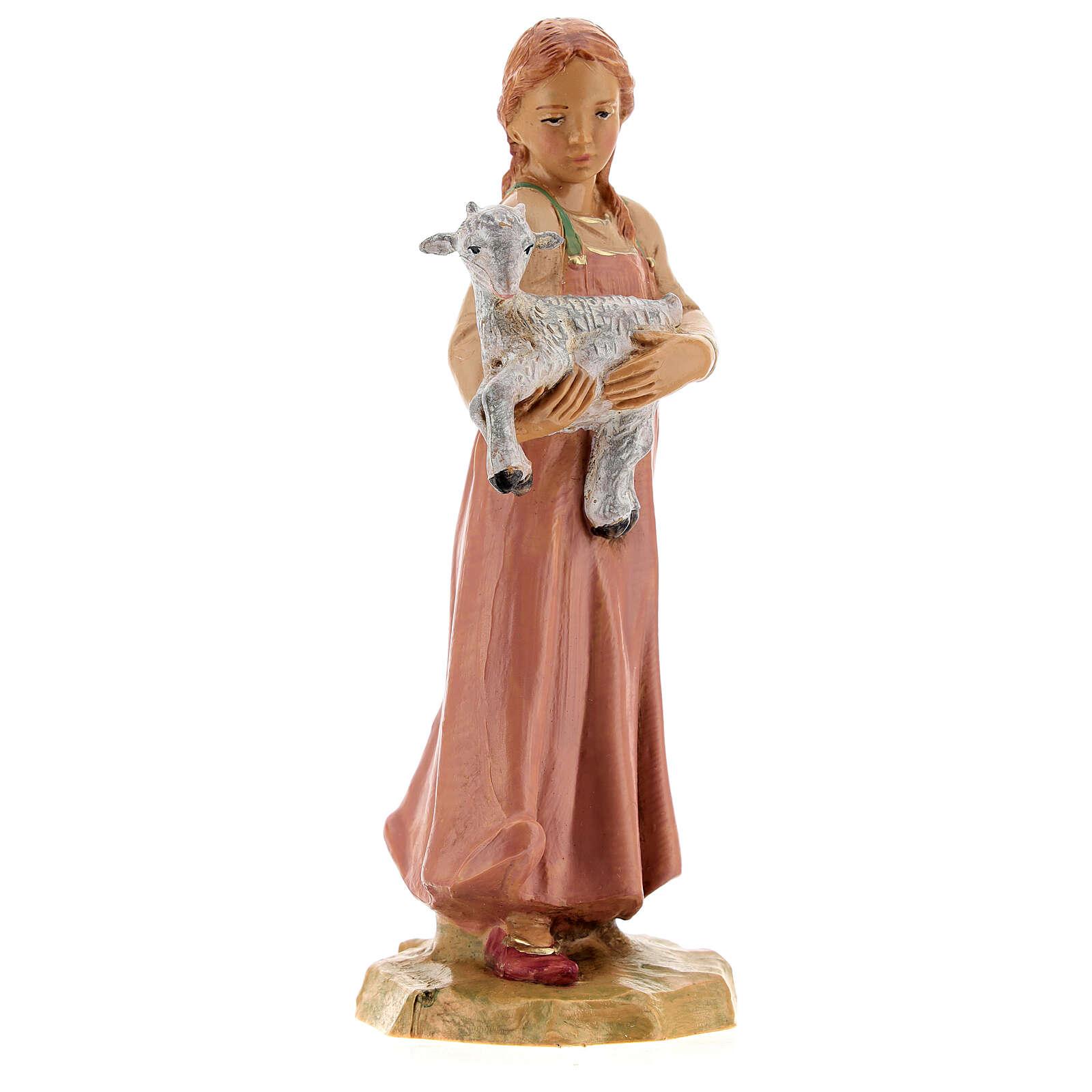 Jovem pastora com cabrito para presépio Fontanini com figuras de altura média 19 cm 4
