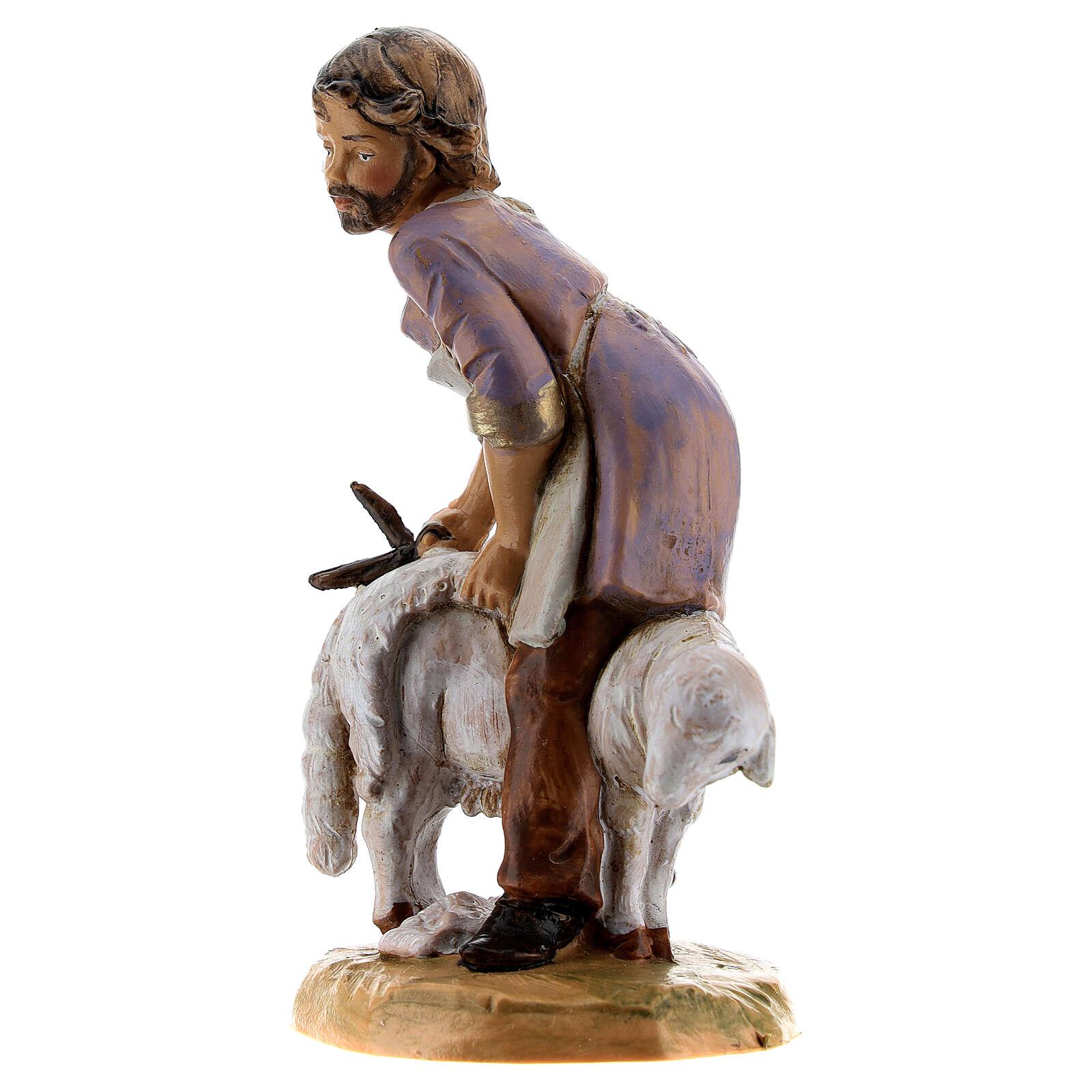 Tosatore pecore presepe Fontanini 12 cm 4