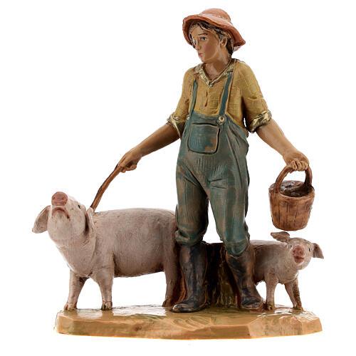 Joven con cerdos belén Fontanini 12 cm 1