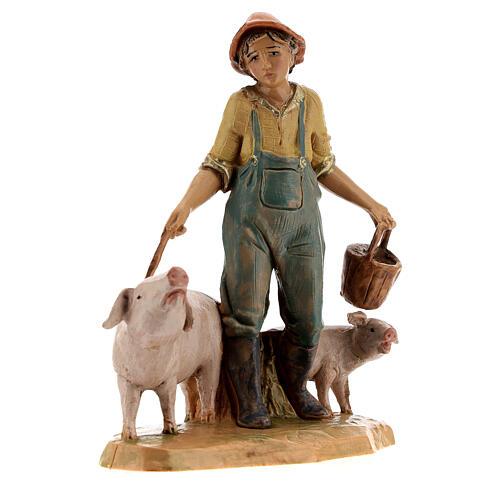 Joven con cerdos belén Fontanini 12 cm 3