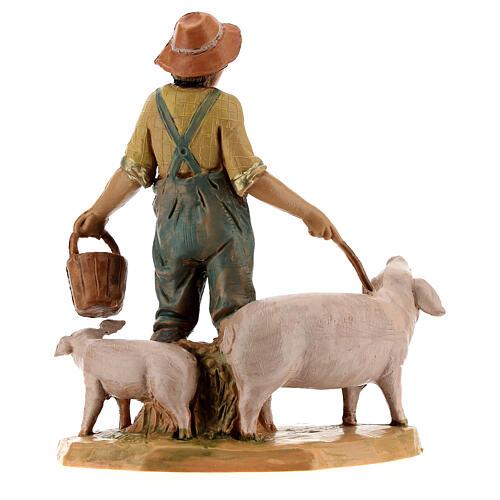 Joven con cerdos belén Fontanini 12 cm 4