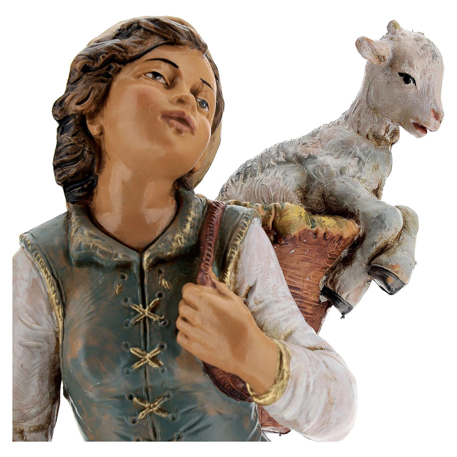 Mujer con cuévano y oveja Fontanini 30 cm 4