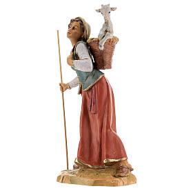 Mujer con cuévano y oveja Fontanini 30 cm s3