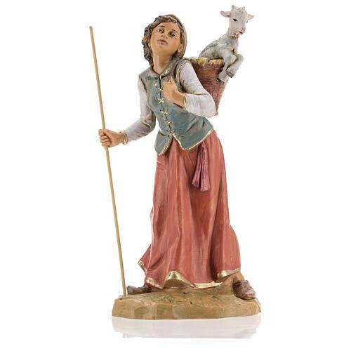 Mujer con cuévano y oveja Fontanini 30 cm 1