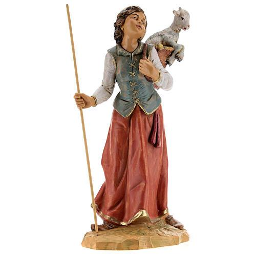 Mujer con cuévano y oveja Fontanini 30 cm 5