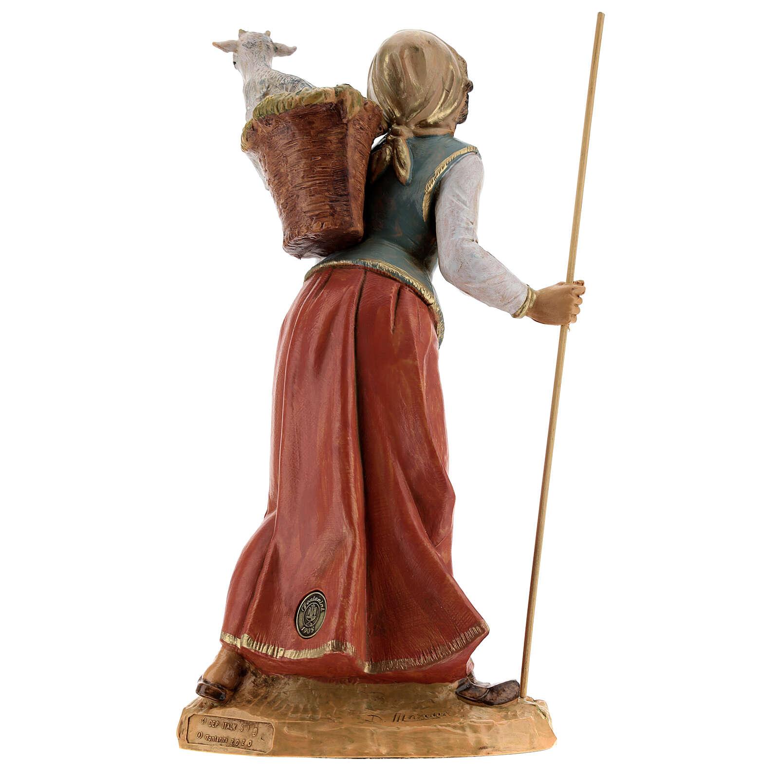 Femme avec hotte et mouton Fontanini 30 cm 4